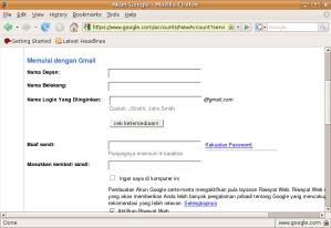Formulir Pendaftaran Akun email untuk pertama kali mendaftarkan diri